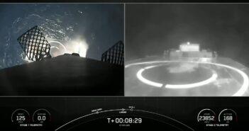 Stopień B1051 tuż przed lądowaniem na platformie morskiej - 09.05.2021 / Credits - SpaceX