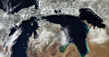 Wycinek amerykańskich jezior w marcu 2020 okiem satelity Sentinel-3 / Credits - ESA, CC BY-SA 3.0 IGO