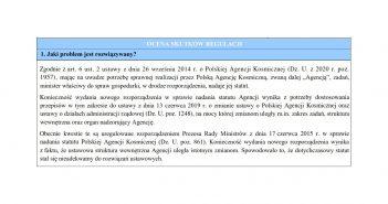 Cześć projektu rozporządzenia w sprawia nadania statutu Polskiej Agencji Kosmicznej / Credits - legislacja.gov.pl