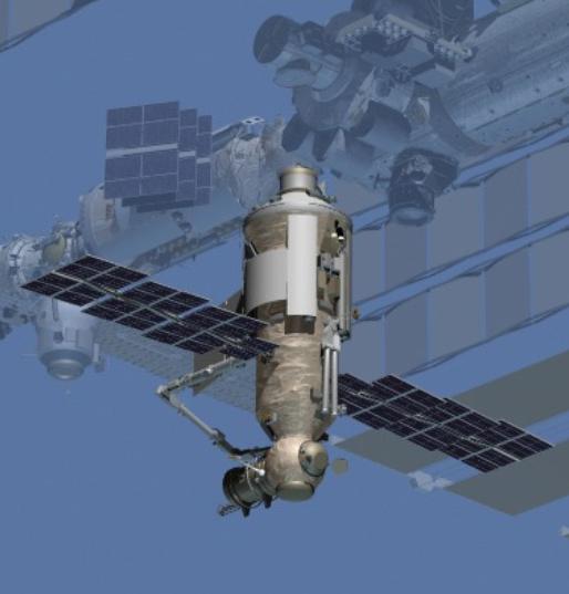 Grafika prezentująca moduł Nauka przytwierdzony do ISS / Credits – NASA