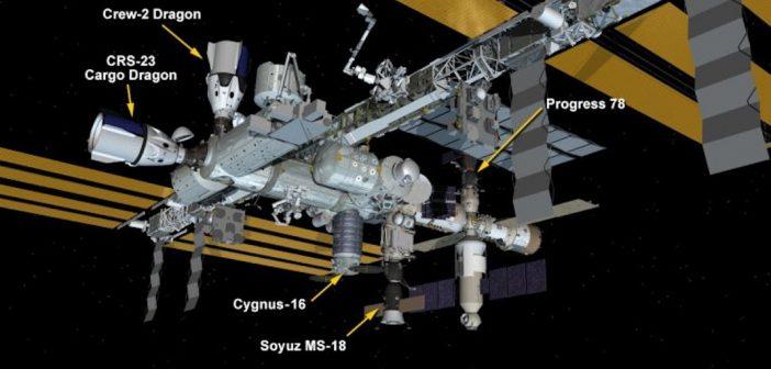 Wygląd ISS po cumowaniu Dragona do misji CRS-23 / Credits - NASA