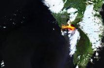 Potok lawy na wyspie La Palma / Zdjęcie z danych satelity Sentinel-2 (system Copernicus)